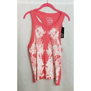 chaser womens tank top medium pink white floral design front new with tags